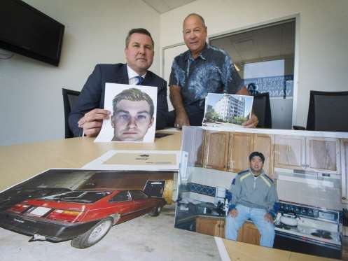 [IMAGE] Sgt. Mike Heard and Detective (Retired) Ron Symes Display Evidence from Edgar 'Iggy' Leonardo Homicide Investigation