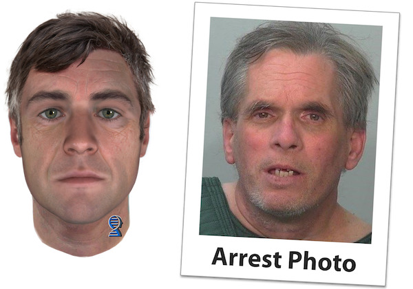 [IMAGE] Comparison of Parabon Snapshot Prediction and Actual Arrest Photo of John D. Miller