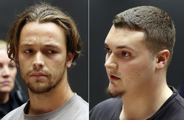 [IMAGE] Tyler Grenon, 20, of Attleboro, RI, left, and Matthew Dusseault, 23, of Woonsocket, RI, at their arraignment