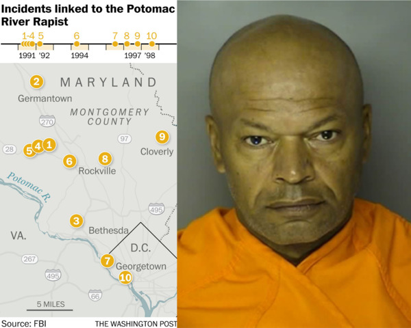 [IMAGE] Map of Incidents Linked to the Potomac River Rapist + Arrest Photo of Giles Daniel Warrick