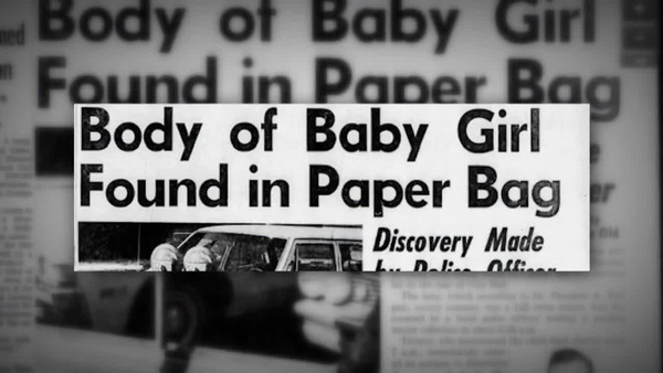 "[IMAGE] Newspaper Headline: ""Body of Baby Girl Found in Paper Bag"""