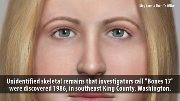 "[IMAGE] Composite facial image created from unidentified skeletal remains whom King County, WA investigators call ""Bones 17"""
